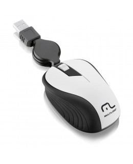 MOUSE OPTICO RETRATIL MULTILASER 1200DPI USB BRANCO MO234