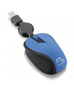 MOUSE MULTILASER OPTICO RETRATIL 1200DPI USB AZUL MO235
