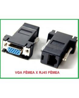 PAR DE EXTENSOR ADAPTADOR  VGA FEMEA PARA RJ45 FEMEA VIA CABO DE REDE